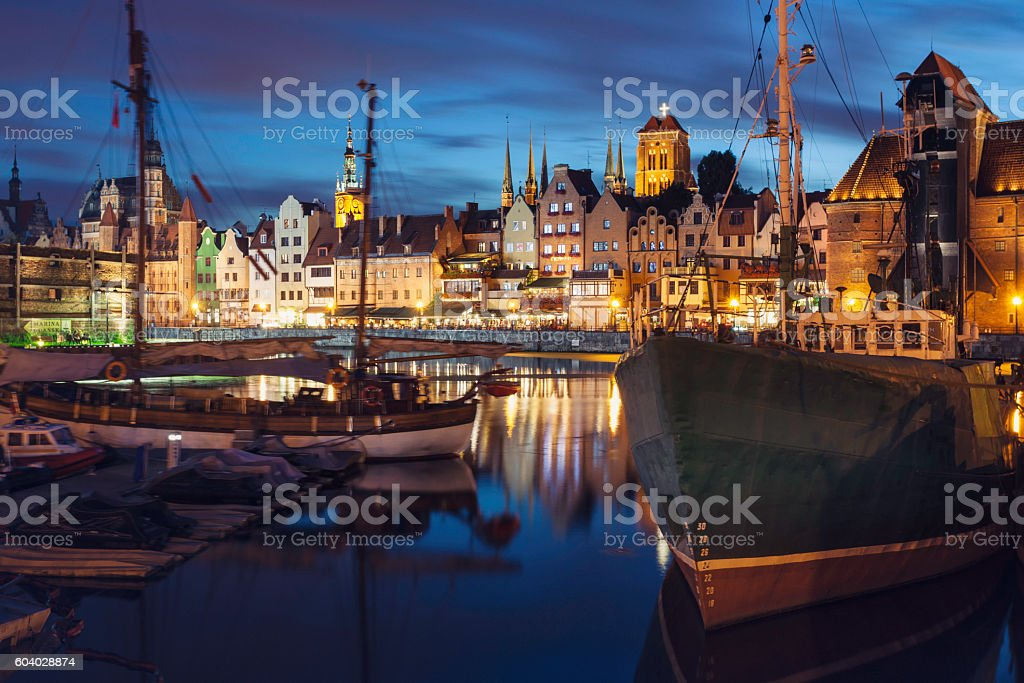 Night in the city of Gdansk stock photo