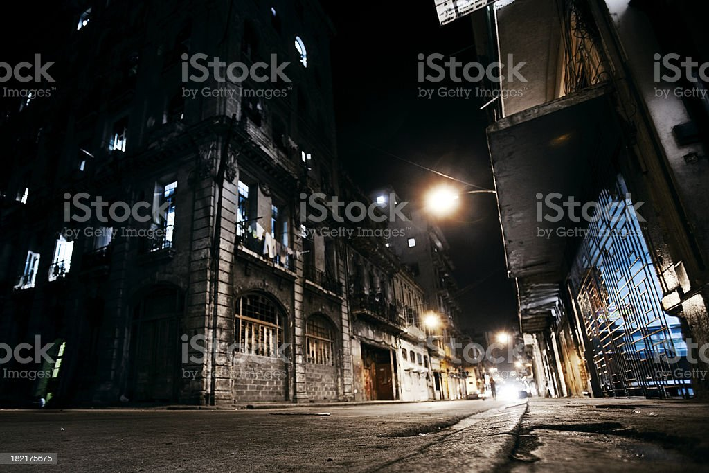 night in town stock photo