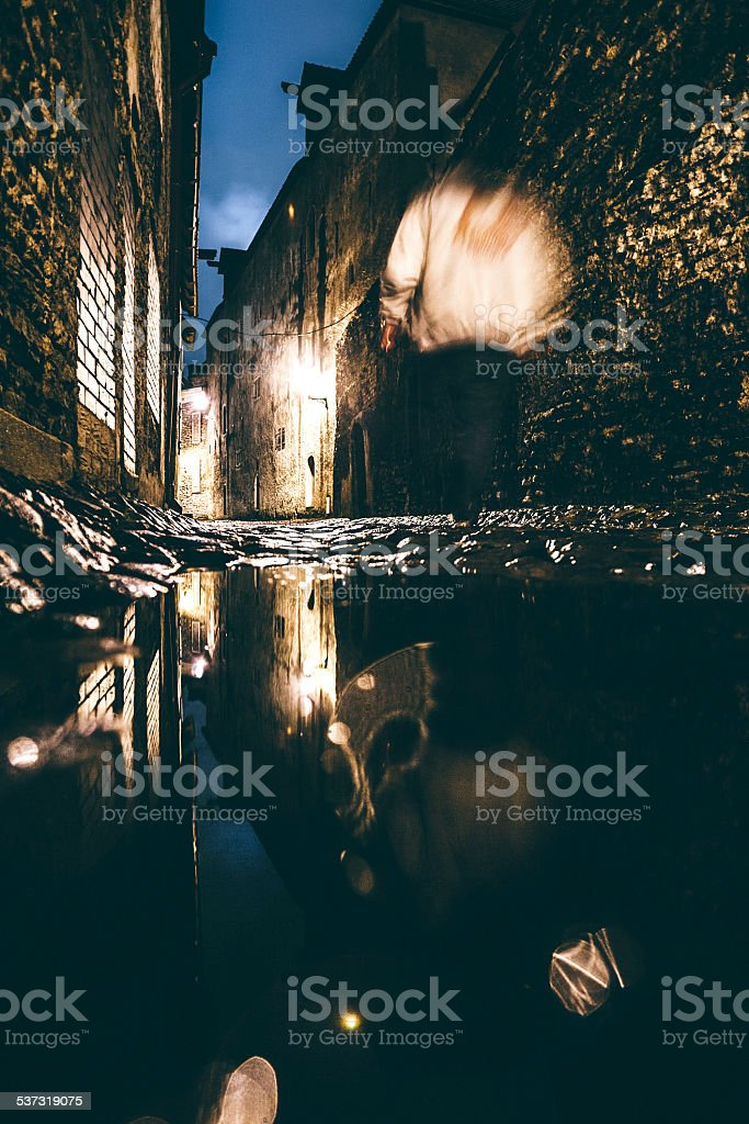 Night in town. stock photo