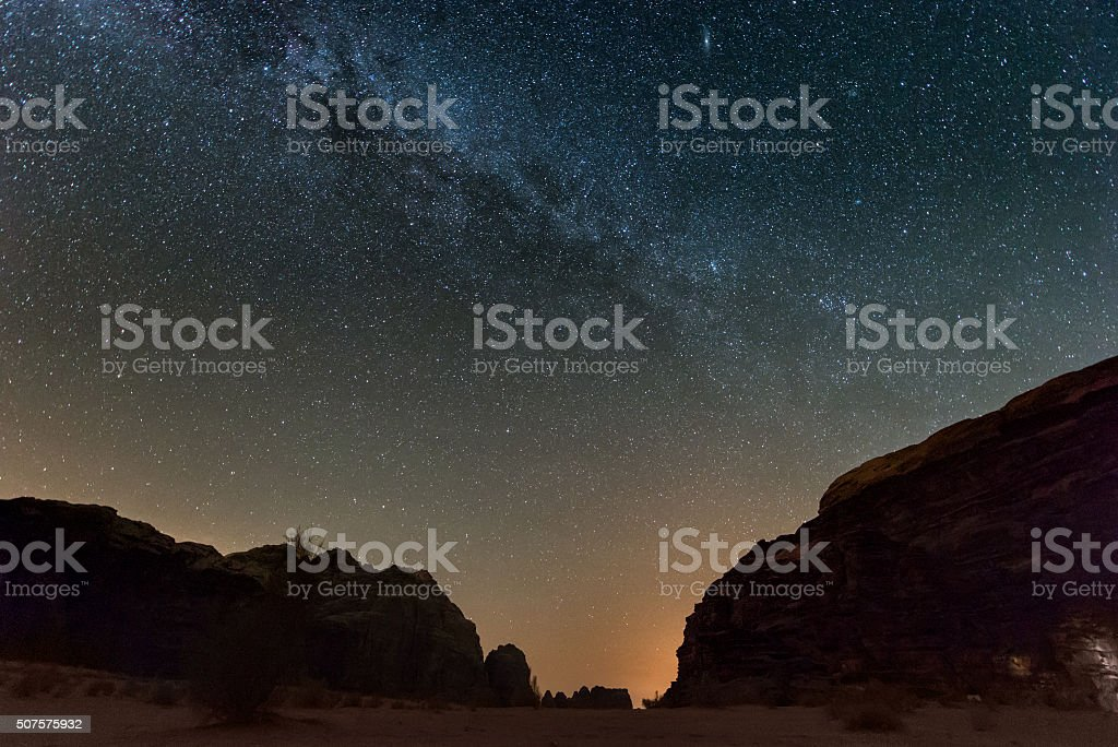 Night in Wadi Rum desert. Jordan stock photo