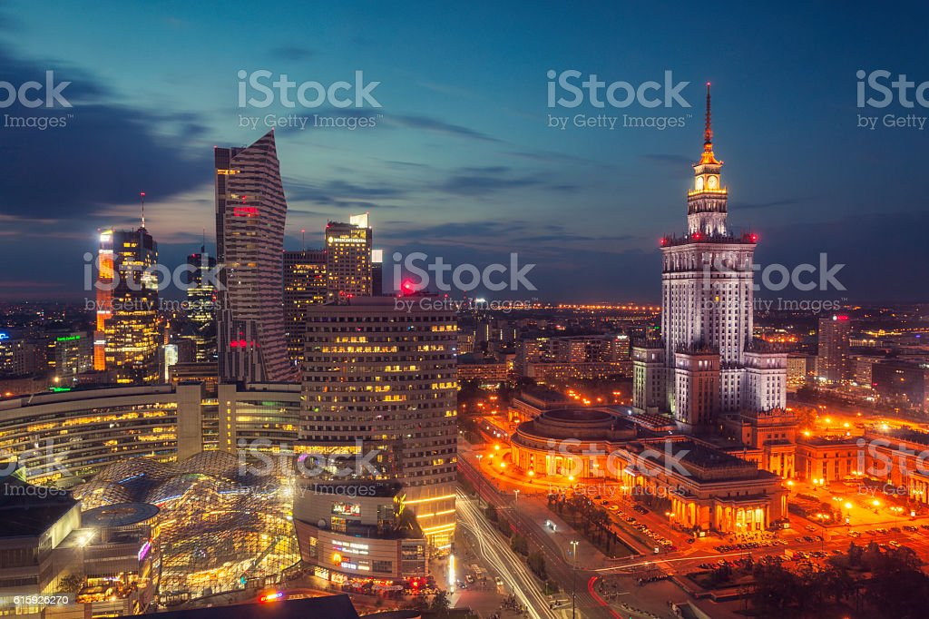 Night in Warsaw stock photo