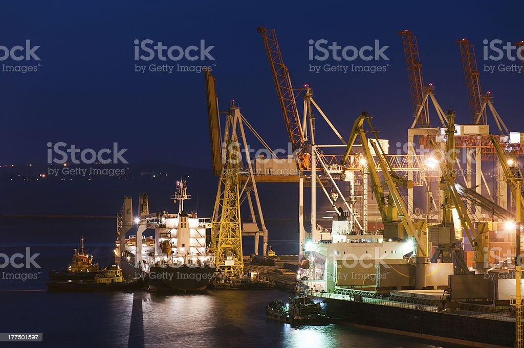 night industrial port royalty-free stock photo