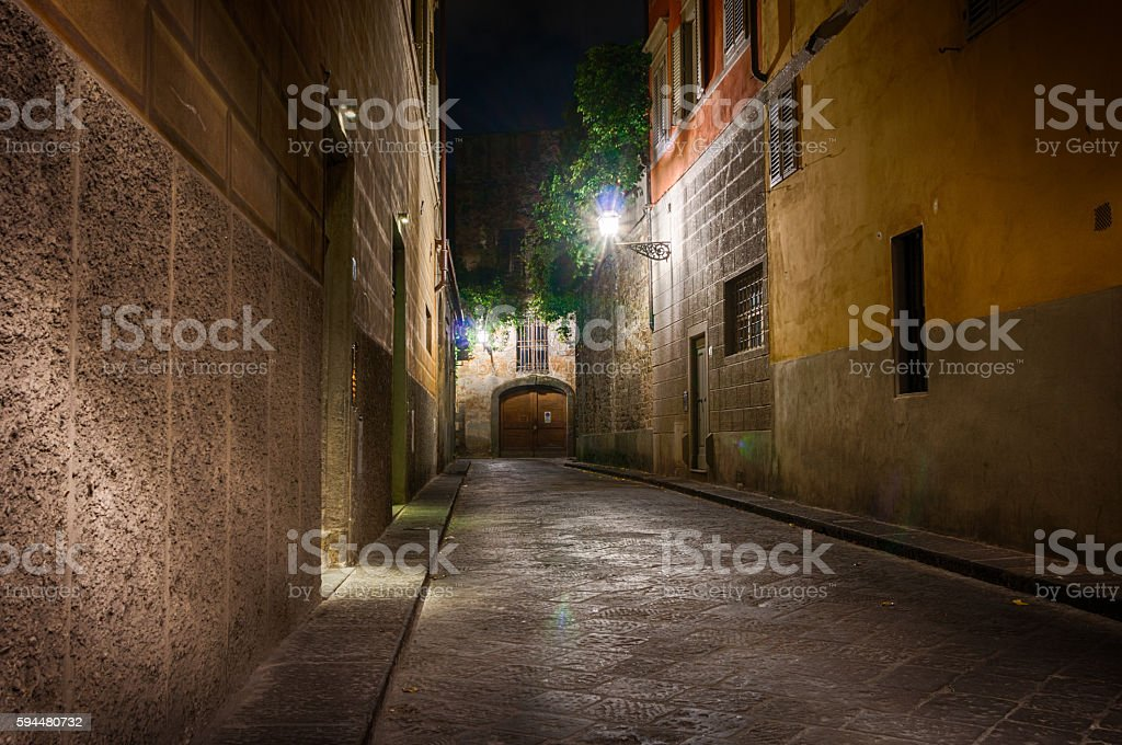 Night italian street stock photo