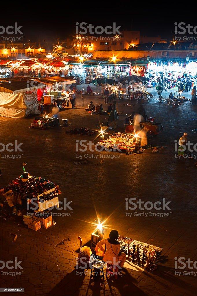 Night  Jemaa el Fna squre in Marrakesh, Morocco stock photo