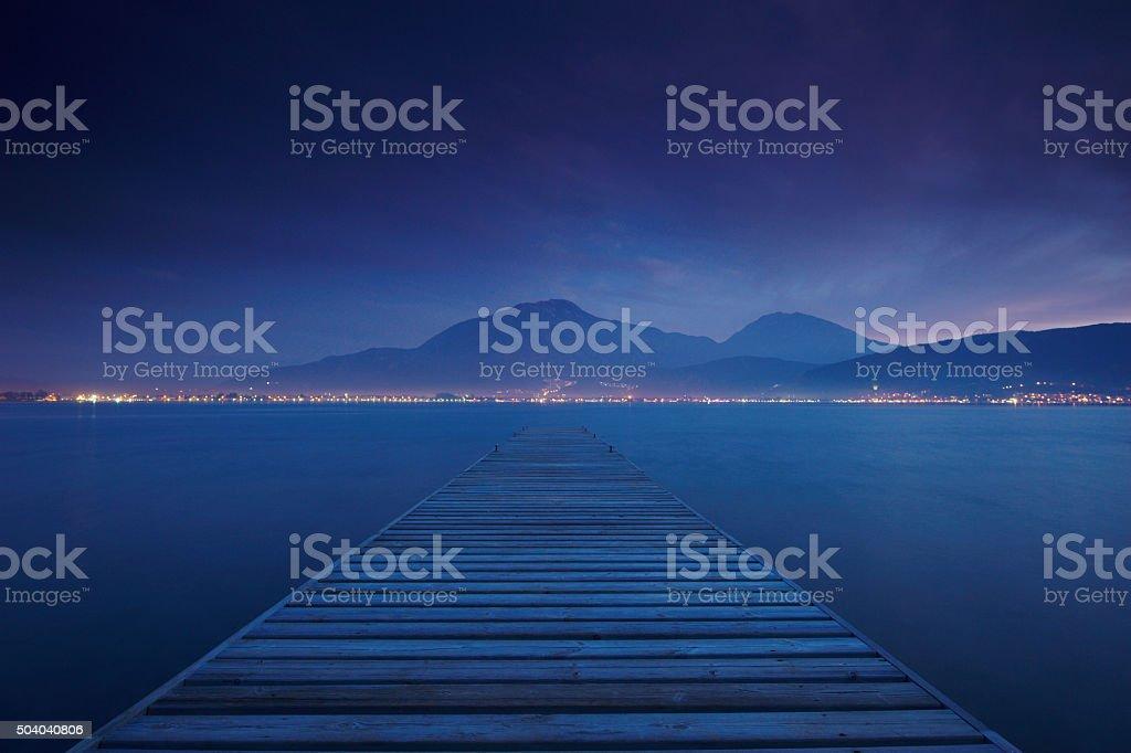 night jetty stock photo