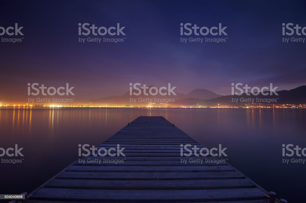 night jetty stock photo