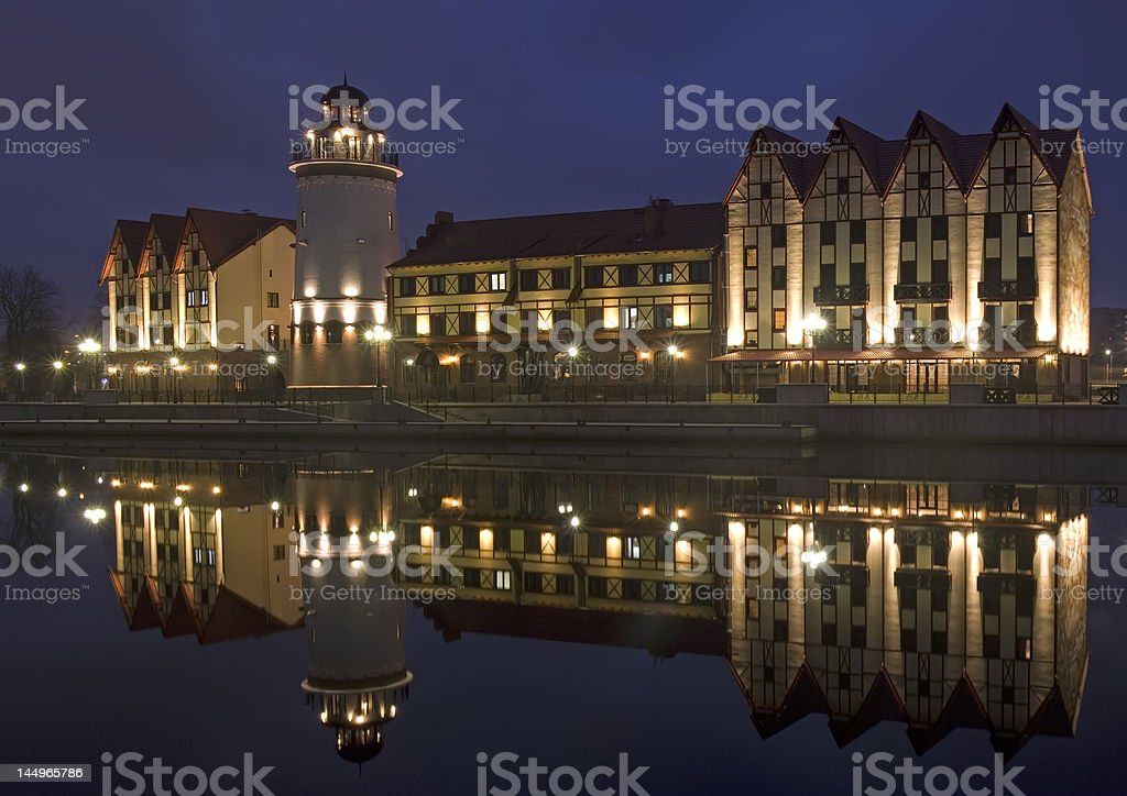 Night kind on Ethnographic - business district 'fishing village' stock photo