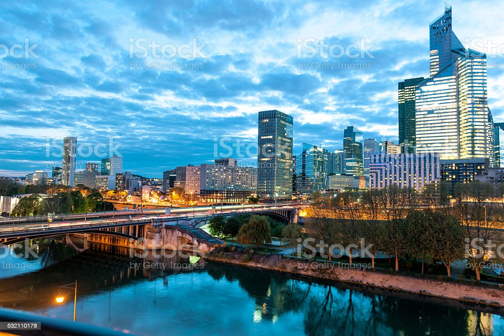 Night La Defense business area  in Paris,Seine River, France stock photo