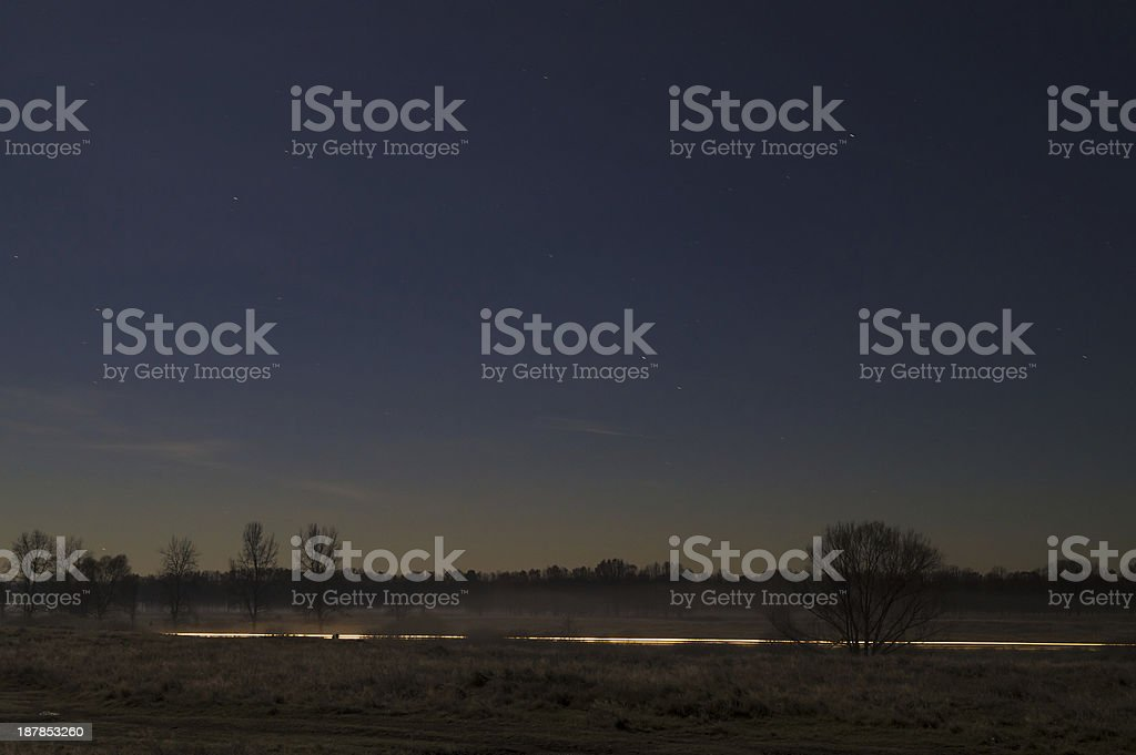Night landscape in the meadows stock photo