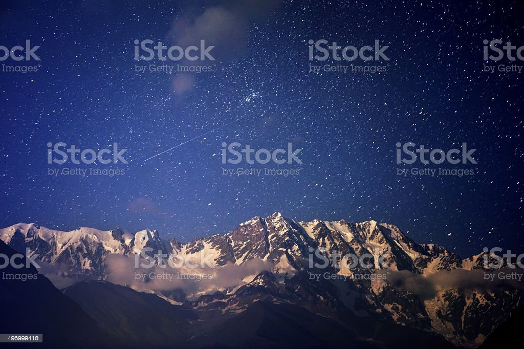 Night landscape in the mountains stock photo