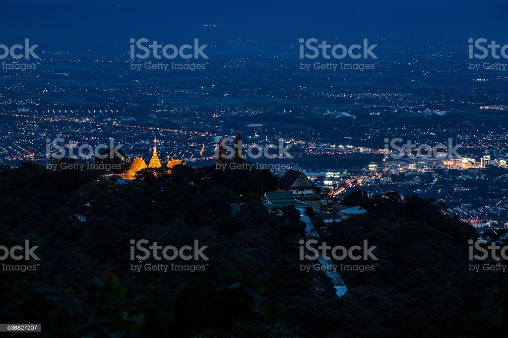 night landscape of Doi Suthep Chiang Mai, Thailand. stock photo