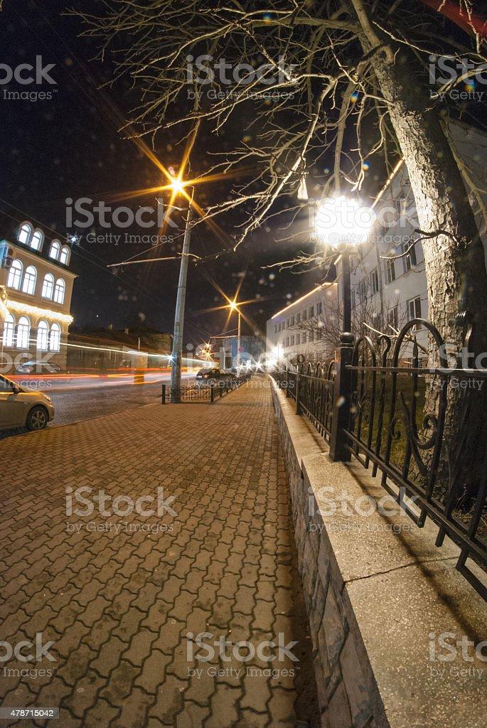 Night landscape on the street Bohdan Khmelnytsky city of Lutsk stock photo