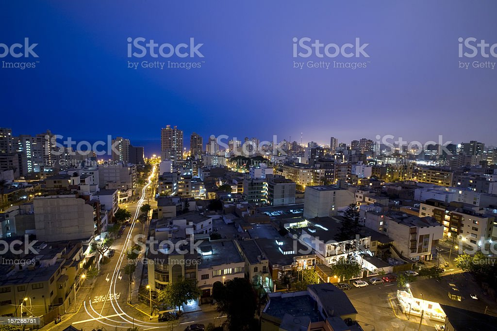 Night landscape shot of Miraflores Lima, Peru stock photo