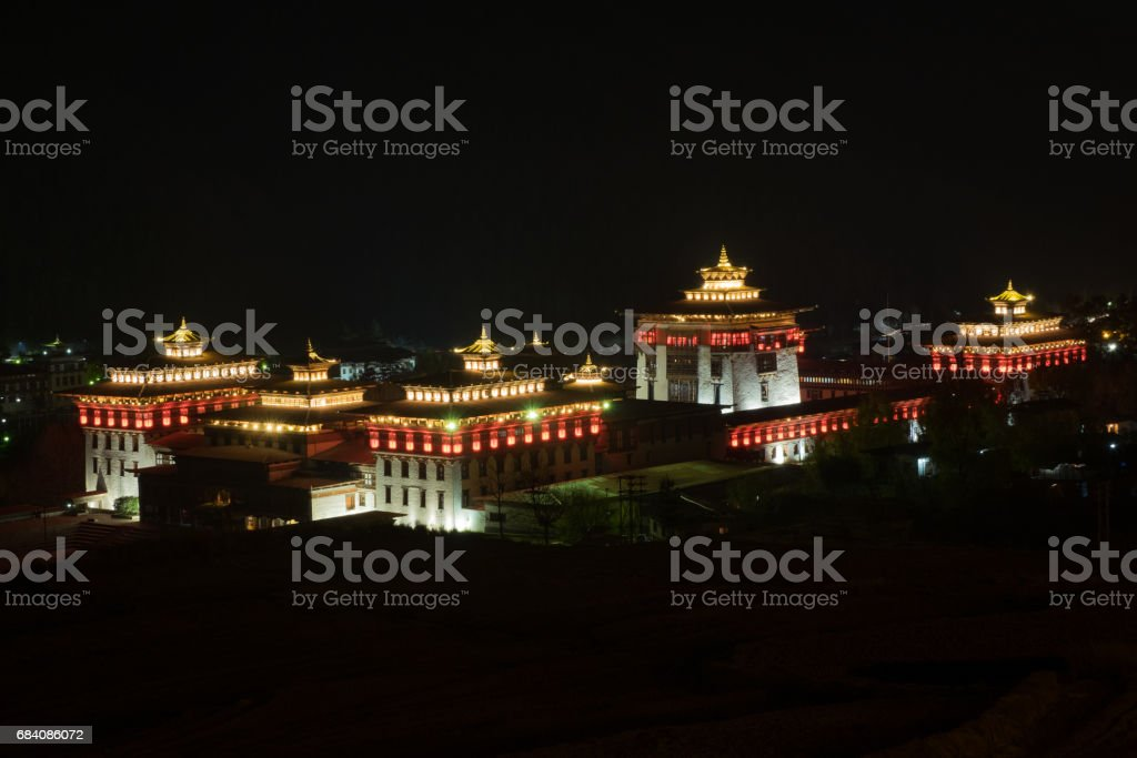 night landscape view of Trashi Chho Dzong , Thimphu, Bhutan stock photo