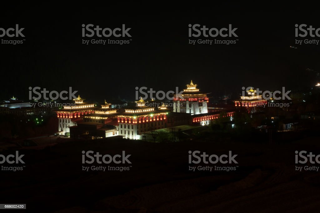 night landscape view of Trashi Chho Dzong, Thimphu, Bhutan stock photo