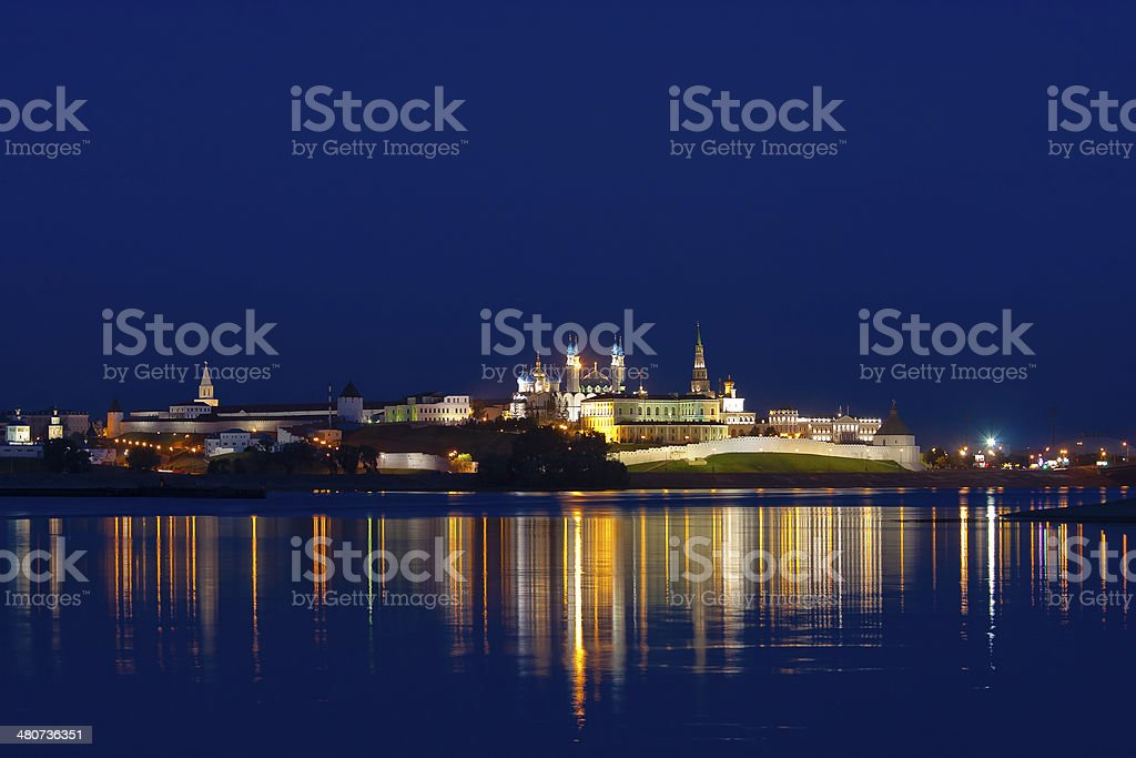 night landscape with a kind on Kremlin stock photo
