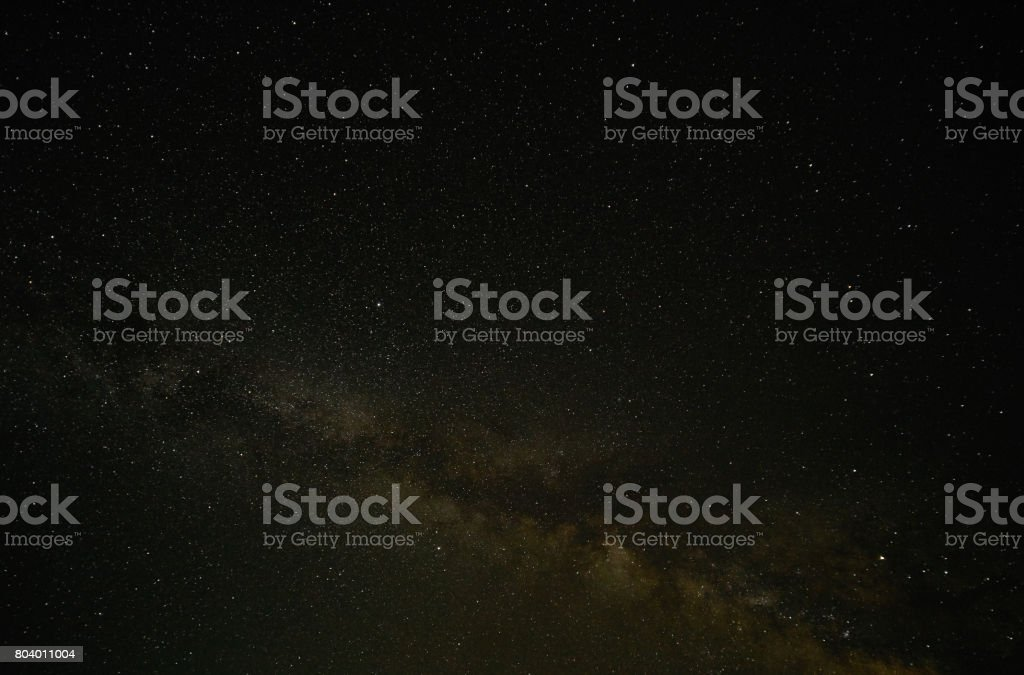 Night landscape with colorful Milky Way. Amazing summer Starry sky . stock photo