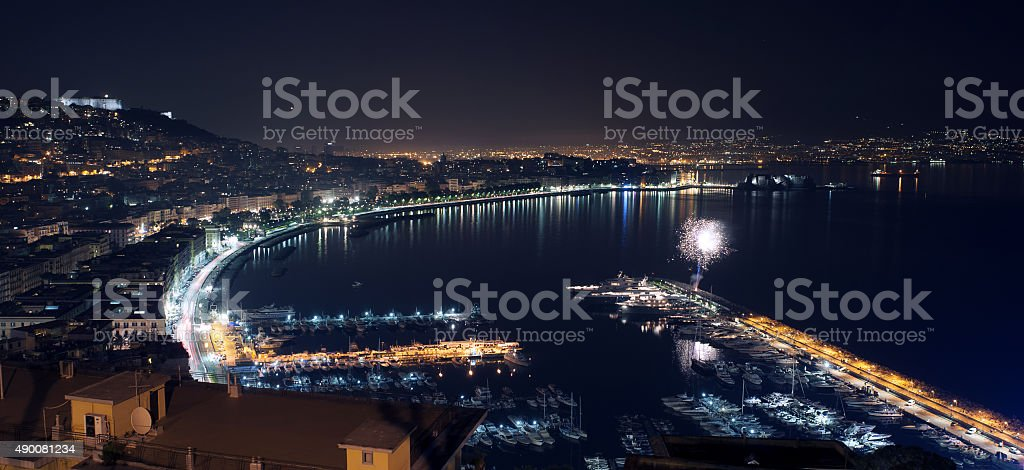 Night landscape with firework in Naples stock photo