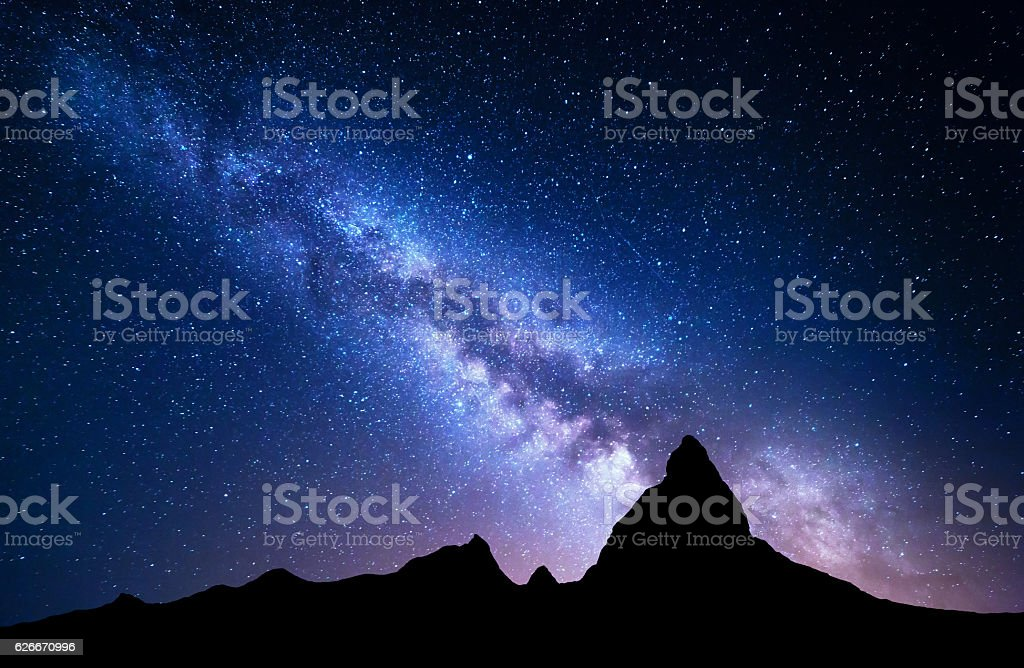 NIght landscape with Milky Way at mountains stock photo