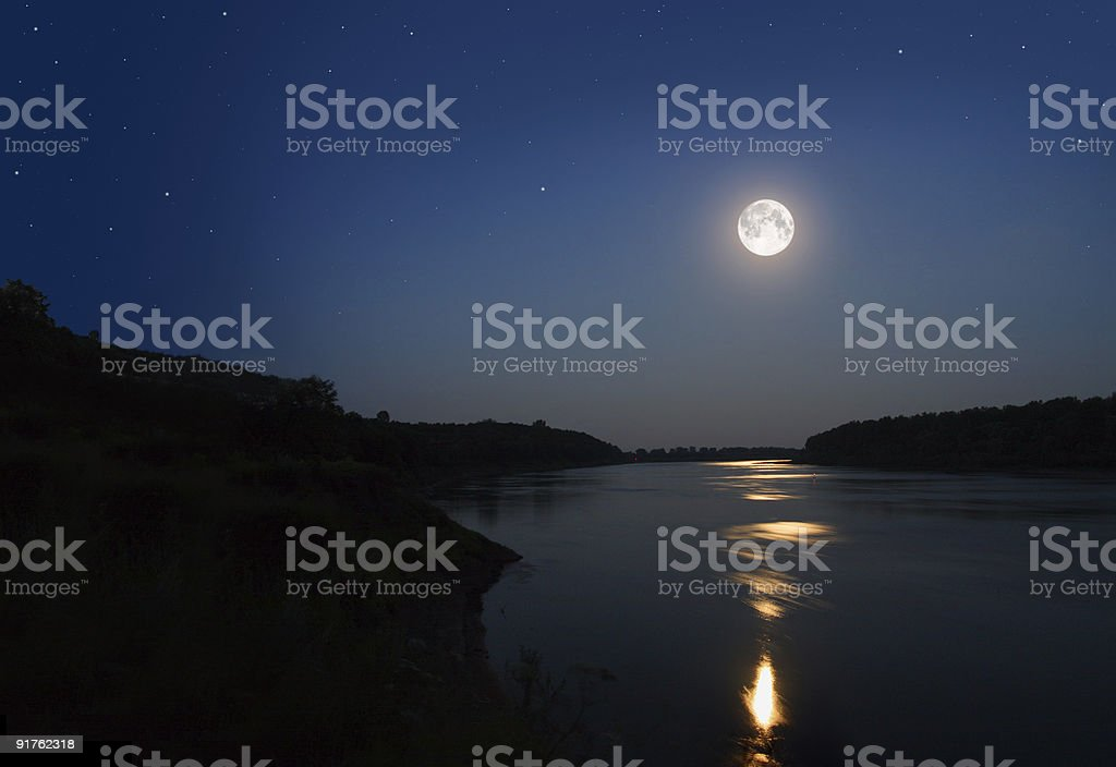 night landscape with moon stock photo