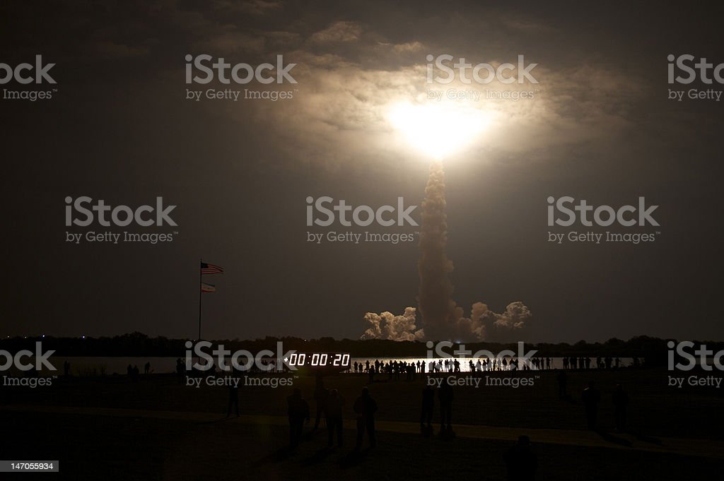 Night Launch of the Space Shuttle stock photo