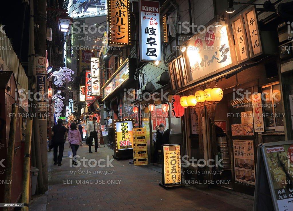 Night life back street Tokyo Japan stock photo