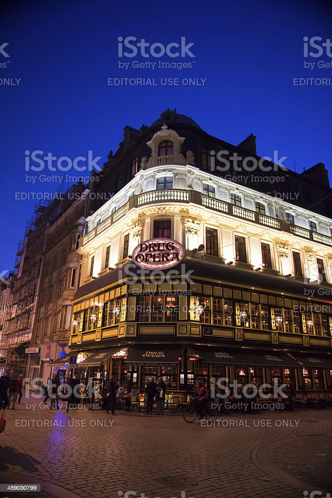 Night life in Brussels, Belgium royalty-free stock photo