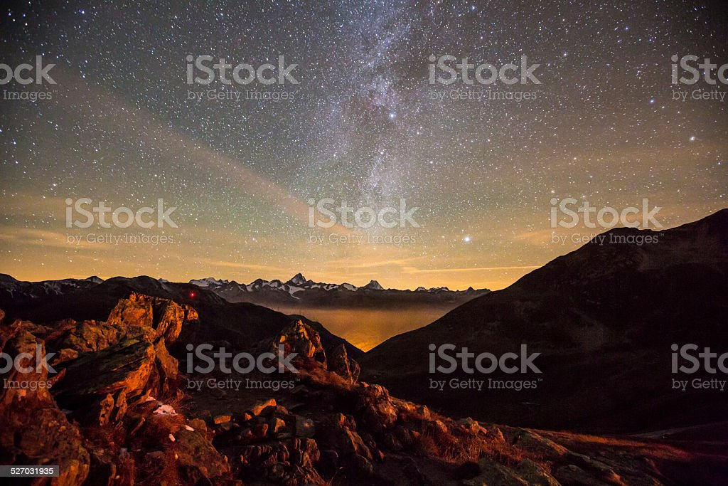 Night light and milky way Swiss Alps stock photo