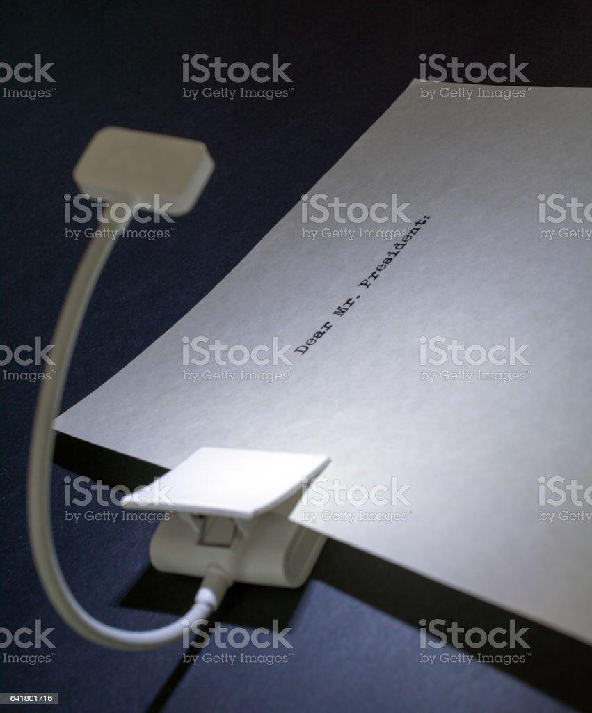 night light , Dear Mr. President, piece of paper   copy space stock photo