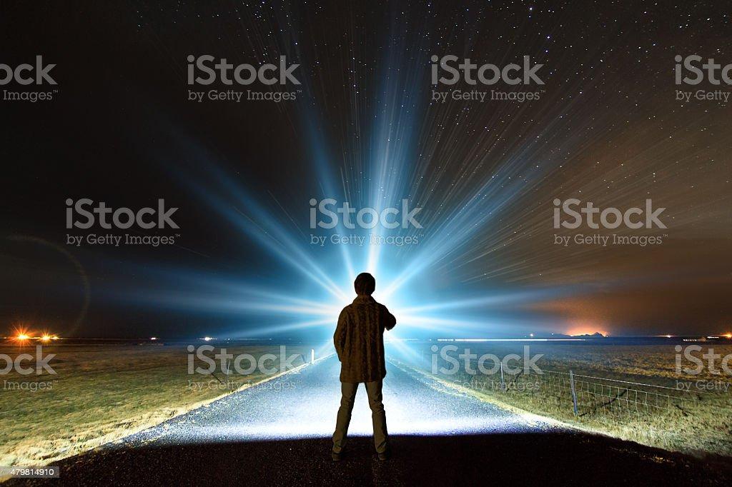 Night light Iceland stock photo