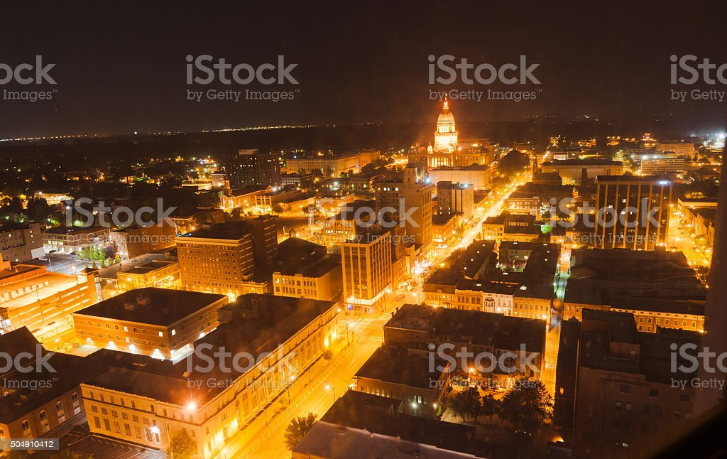 Night light looking to State Capital Building,Springfield Illino stock photo