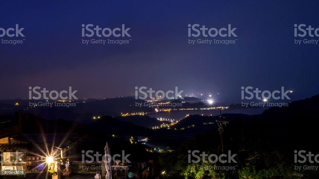 Night light of mountain landscape at Jiufen 1 stock photo