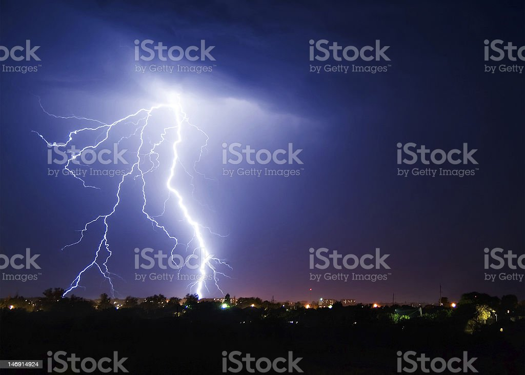 Night lightning stock photo
