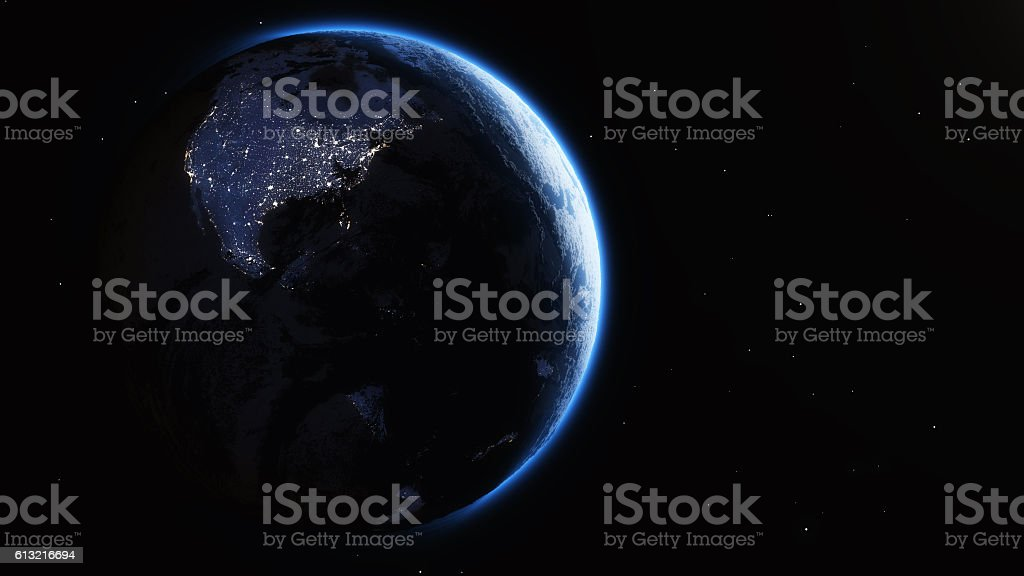 Night lights earth stock photo