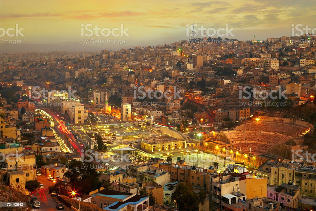 Night lights of Amman - capital of Jordan stock photo