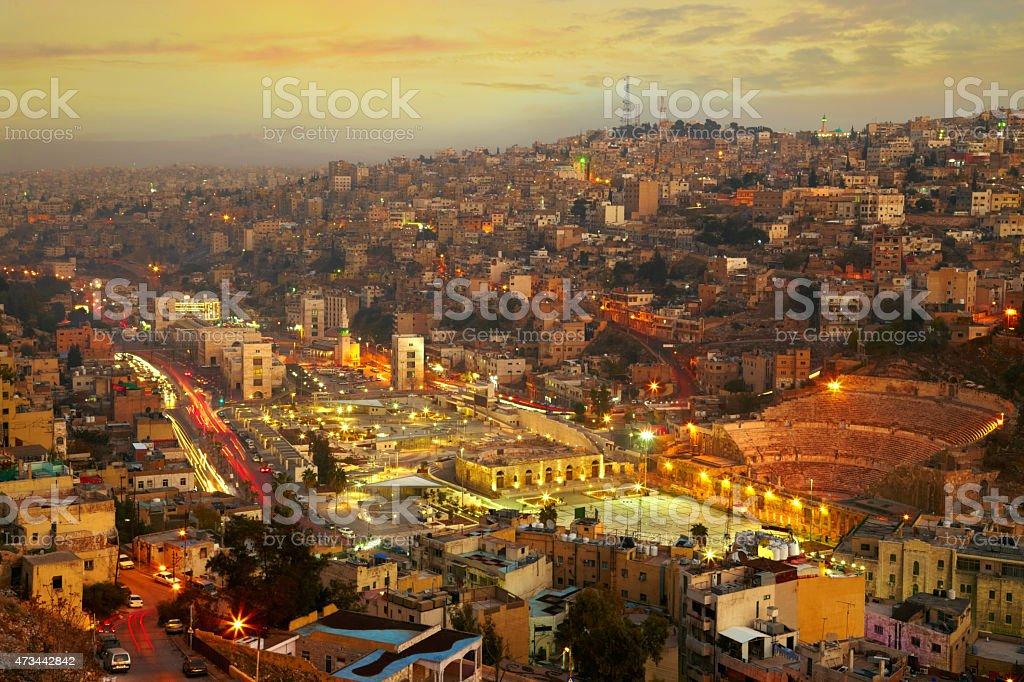 Night lights of Amman - capital of Jordan stock photo