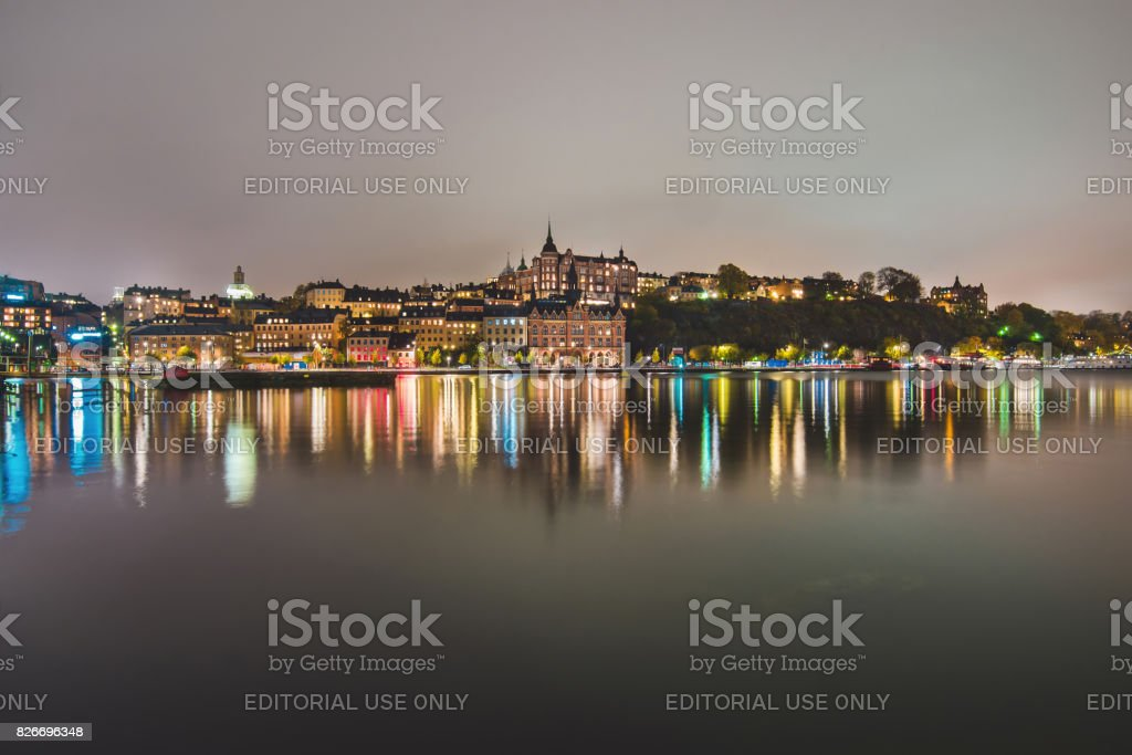 Night Lights of Sodermalm District in Stockholm stock photo