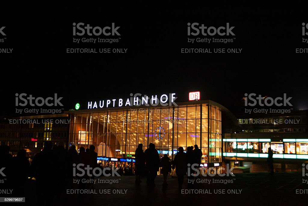 Night lights of station Cologne in xmas season stock photo