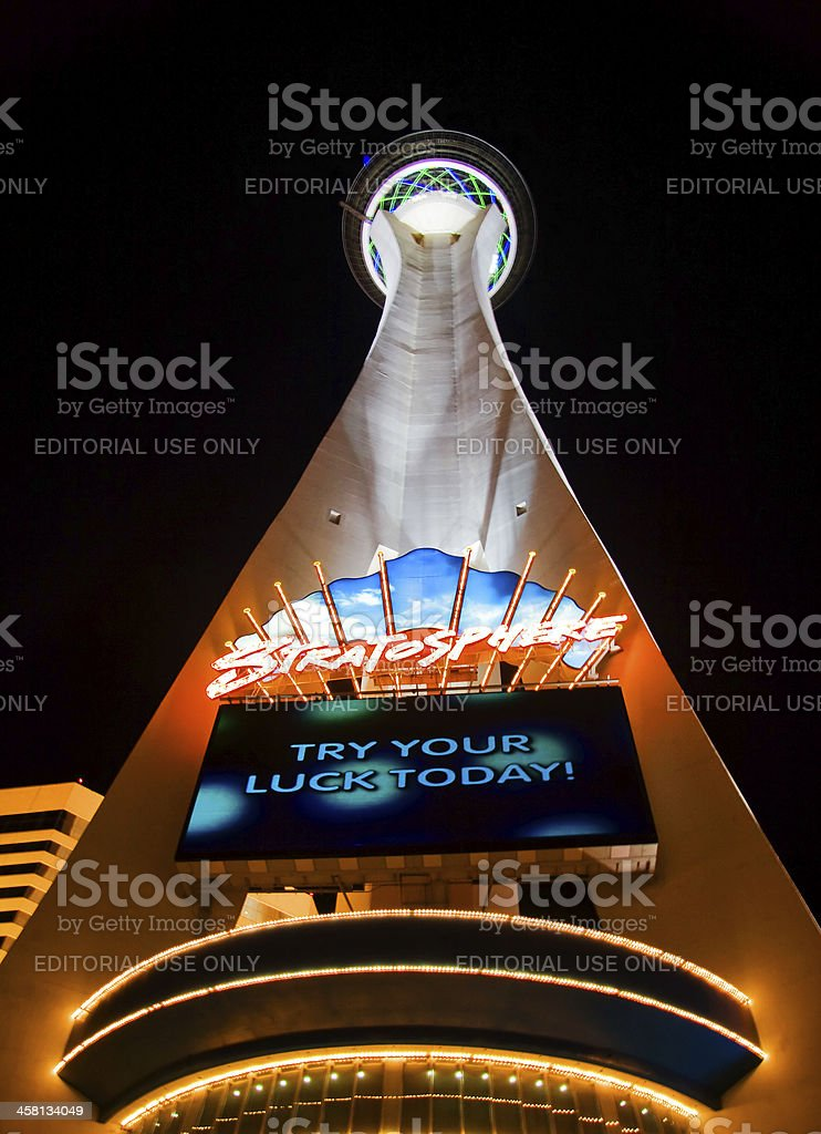 Night lights of the Stratosphere Tower. royalty-free stock photo