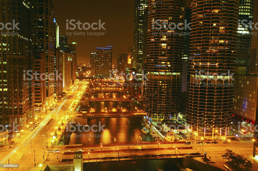 Night lights on the Chicago River royalty-free stock photo