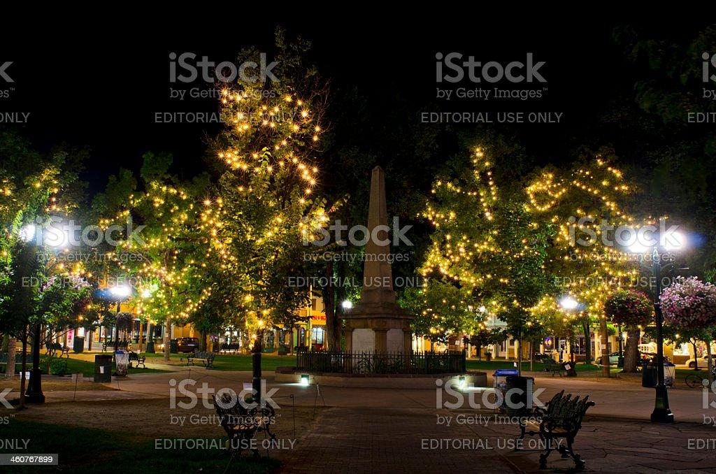 Night Lights on the Santa Fe Plaza stock photo