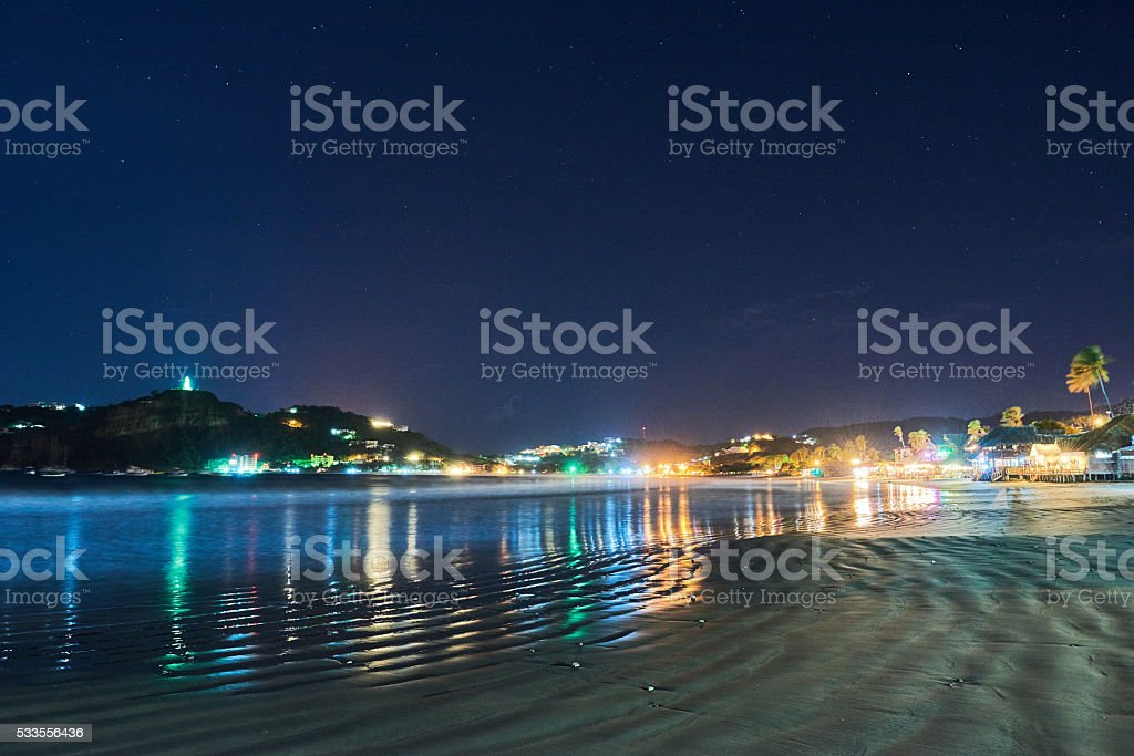 Night live view bay Nicaragua stock photo