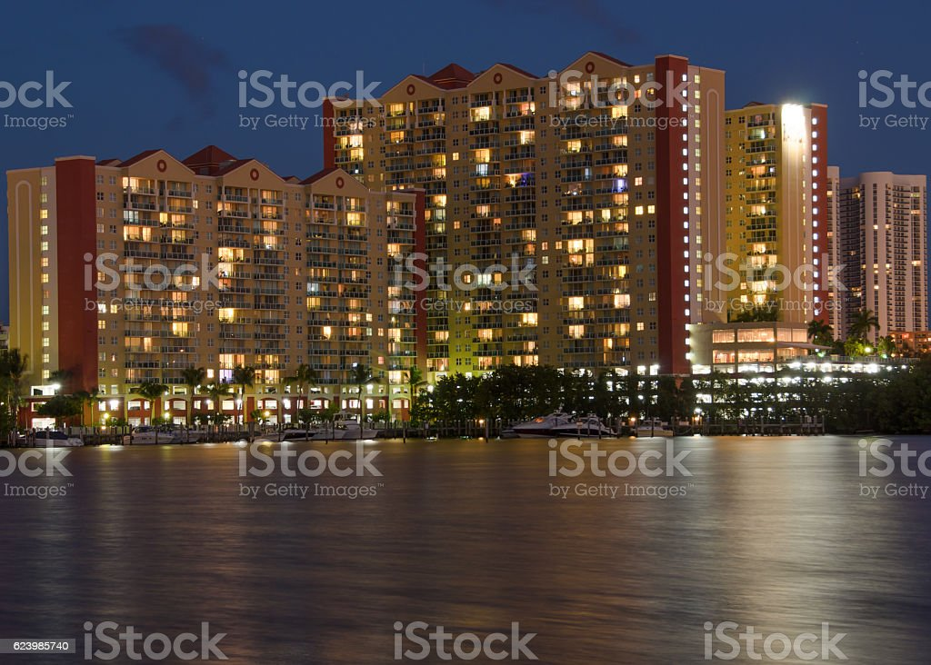 Night Long exposure of Condos on Miami beach canal stock photo
