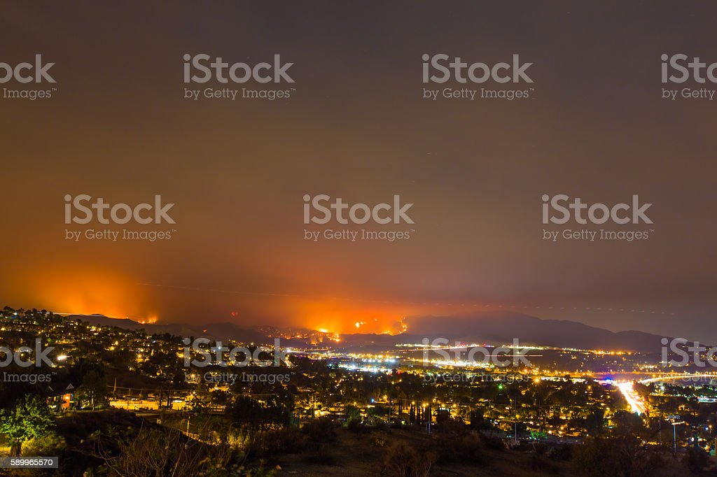 Night long exposure photograph of the Santa Clarita wildfire stock photo