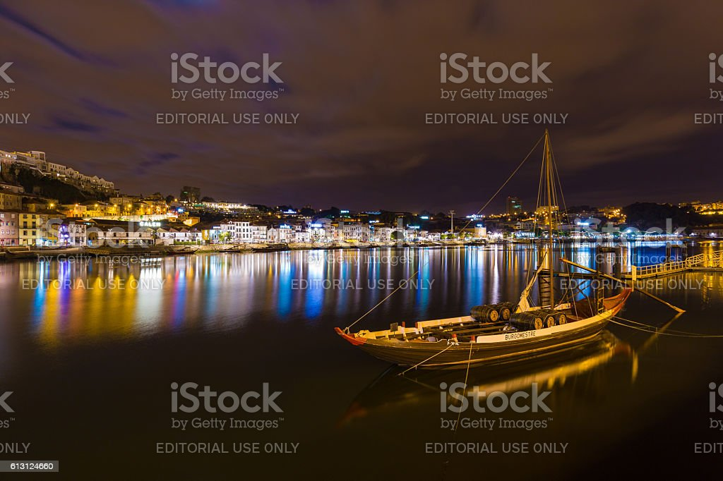 Night long exposure shot of river Duoro, vintage port stock photo