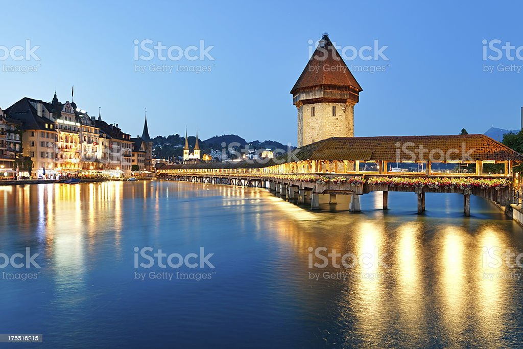 Night Lucerne, Switzerland stock photo
