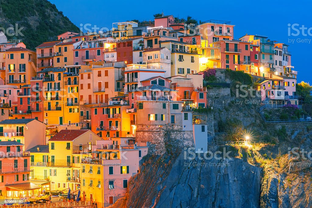 Night Manarola, Cinque Terre, Liguria, Italy stock photo
