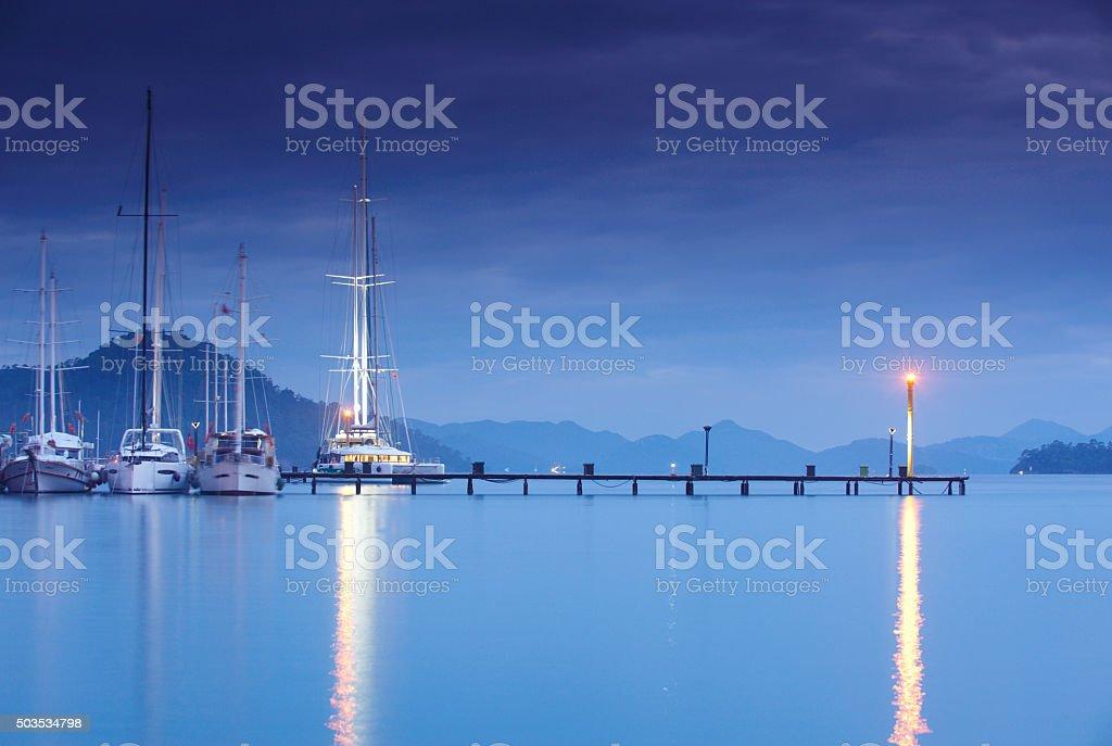 night marina stock photo