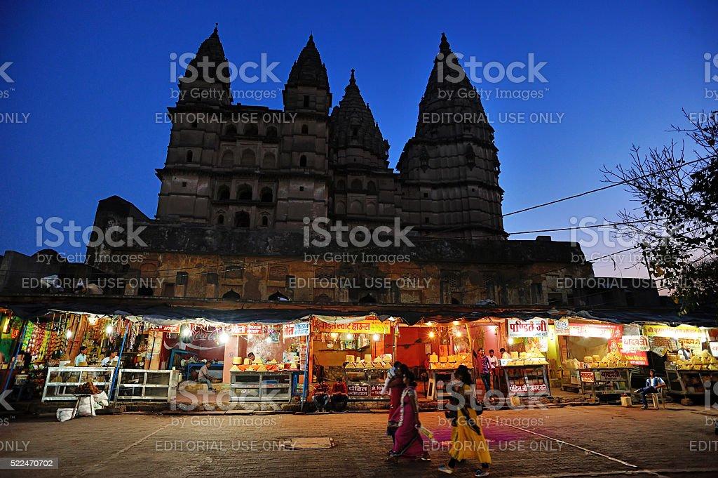 night market in Orchha stock photo