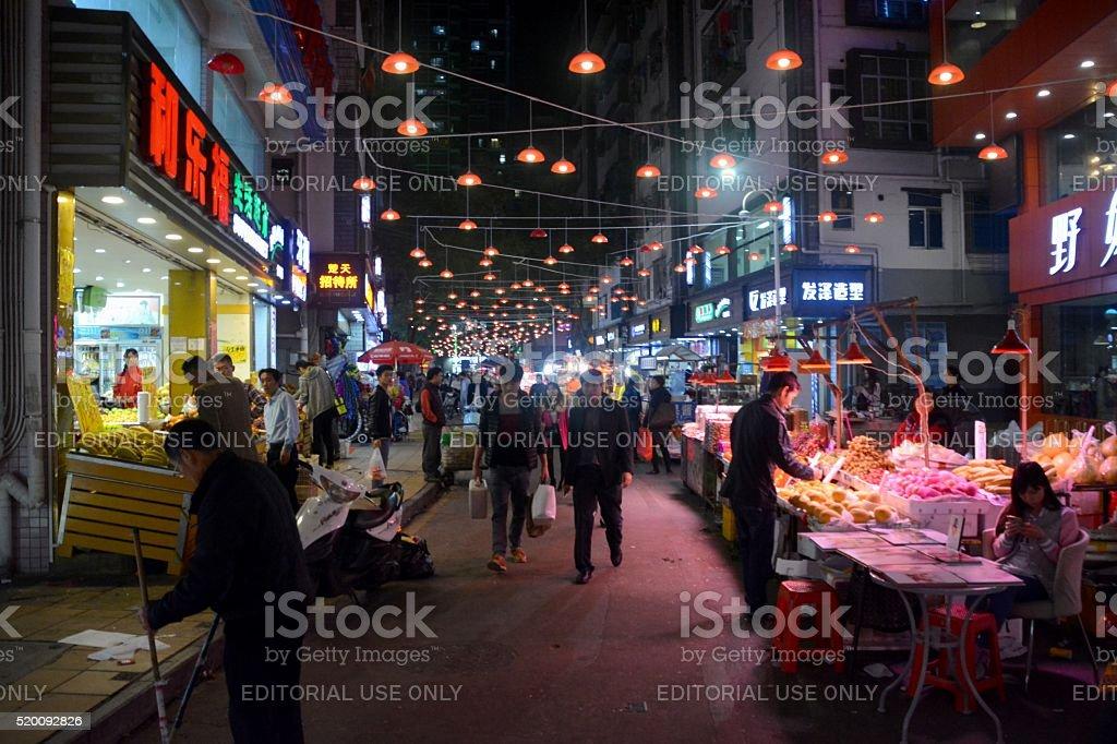 Night market in ShuiWei, Shenzhen, China stock photo